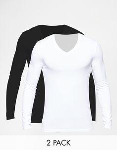 Muskelshirt T-Shirt von ASOS sehr elastischer Jerseystoff mit V-Ausschnitt eng geschnittene Ärmel sitzt eng am Körper superenge Passform Maschinenwäsche 94% Baumwolle, 6% Elastan Unser Model trägt Größe M und ist 185,5 cm/6 Fuß, 1 Zoll groß