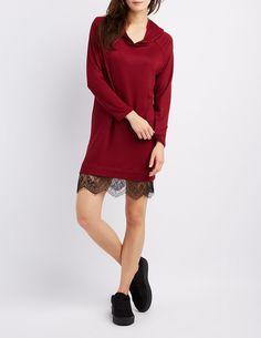 Lace-Trim Hooded Sweatshirt Dress   Charlotte Russe