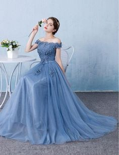 a0c4bb49df9 Blue tulle lace off shoulder long prom dress