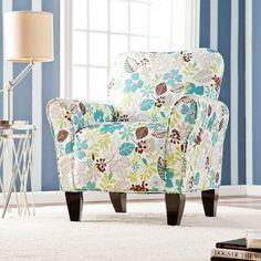 Harper Blvd 'Margo' Teal Floral Upholstered Arm Chair (OS8039), Blue (Cotton)