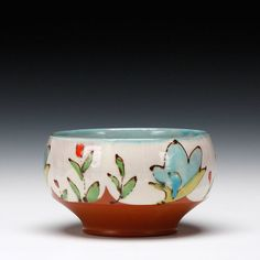 lovely colors - Ursula Hargens - earthenware medium bowl.