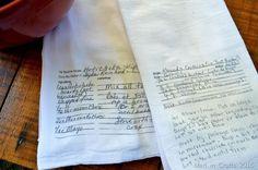 make hand written family recipe kitchen towels