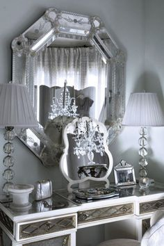 Silver mirror and table, bedroom