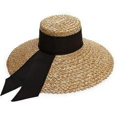 Eugenia Kim Mirabel Grosgrain-Trim Straw Sun Hat (27.600 RUB) ❤ liked on e3e11927579d