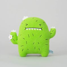 'Riceouch' Classic Ricemonster collection - Noodoll  Riceouch is the cuddliest cacti you'll meet! He is made from soft green fur and has an embroidered face and body.  We're so in love with this cheeky little cutie <3