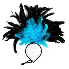 Diadema Plumas Negras y Turquesas  Río de Janeiro, Venecia ... serás la reina del carnaval!!    Una diadema en color negro de la que salen grandes y bonitas plumas en color negro y turquea, la diadema tiene una goma para que no se te caiga ni te pese ... A bailar!!