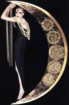 Belle Epoque, Estilo Art Deco, Rose Fuchsia, Black Gold Jewelry, Moda Vintage, Vintage Moon, Vintage Clocks, French Vintage, Moon Art