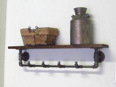 Industrial Pipe Coat Rack with Shelf door IndustrialHomeBazaar