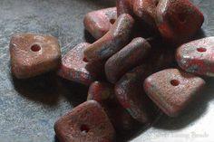 Rugged Crimson 12  Czech Glass Bead  10mm  Wavy Square