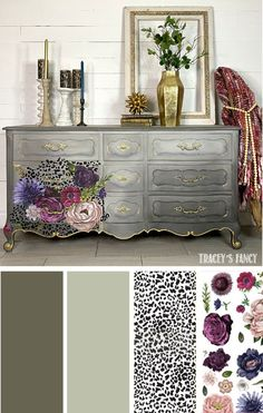 This hand-painted leopard furniture piece is one of my favorites! There are the 4 main products I used. Click over to the blog to see the 3 different furniture waxes I used including the gold! By Tracey Bellion #traceysfancy How to apply image transfer How to layer image transfers how to use image transfers on furniture Dixie Belle Gravel Road Driftwood Neutral Furniture Paint Colors DIY Furniture Finish #redesign Lush Floral II Image transfer to wood Gray Painted Furniture Furniture…