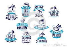 Summer holidays retro emblems and logo