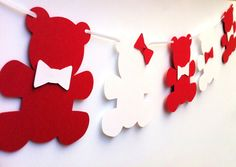 Teddy+Bear+Garland.+Bears+&+bows.+Baby+shower+by+MyPaperPlanet,+$10.95