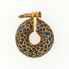 Earring from Egypt New Kingdom, Ramesside Dynasty, ca. 1295–1186 B.C. Gold, lapis lazuli