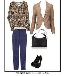 working outfit, blue and animal print. Simple and classy.
