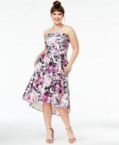 City Chic Trendy Plus Size Gracie Strapless High-Low Dress | macys.com
