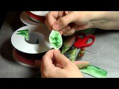 How to make French ribbonwork leaves - YouTube