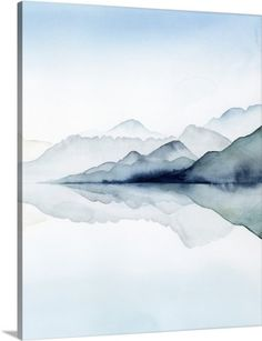 Watercolor painting of misty mountains reflected in glacial waters. Glacial II Wall Art by Grace Popp from Great BIG Canvas. Find Glacial II and other great Hygge wall decor at Great BIG Canvas Canvas Artwork, Canvas Frame, Canvas Art Prints, Wall Art Prints, Big Canvas, Canvas Wall Decor, Framed Prints, Landscape Prints, Watercolor Landscape