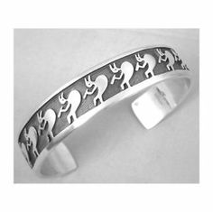 Hump Back Kokopelli Sterling Overlay Hopi Cuff Bracelet