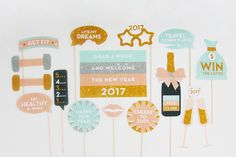 New Year's Eve 2017 Party Printable and Photo Booth Props | INSTANT DOWNLOAD