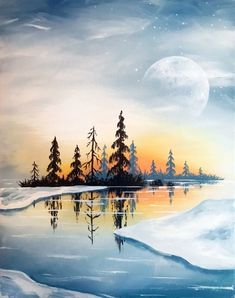 Join us for a Paint Nite event Thu Dec 13 2018 at 10477 SE Main St. Milwaukie OR. Purchase your ti&; Join us for a Paint Nite event Thu Dec 13 2018 at 10477 SE Main St. Milwaukie OR. Purchase your […] painting Watercolor Landscape, Landscape Art, Landscape Paintings, Watercolor Paintings, Winter Painting, Winter Art, Christmas Paintings, Winter Landscape, Pictures To Paint