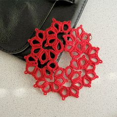 Tatted Lace pendant Tatting Frivolite pendant red by MyWealth