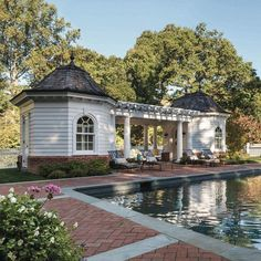 Indeed, people build pool house add beauty value to the owner's property. Find out most popular Pool House Ideas around the net here! Backyard Pergola, Pergola Plans, Pergola Kits, Pergola Ideas, Gazebo, Backyard Pavilion, Small Pergola, Pergola Designs, Outdoor Rooms