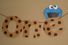 First Birthday Cookie Monster Banner Cookie by MudPuddlesNRuffles, $14.00