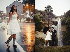 I know they didn't plan for rain on their wedding day, but they rocked it!