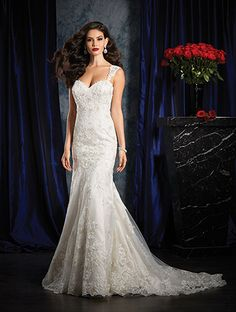 Alfred Angelo Style 986: fit and flare wedding dress with sheer double keyhole back and straps