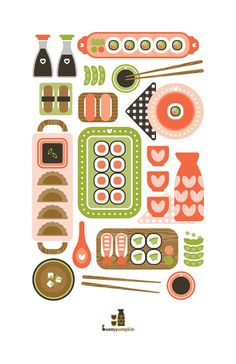 Sushi Illustration from Bunny Pumpkin on Etsy.