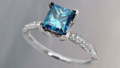 The Beauty Of Blue Diamond White Gold Ring