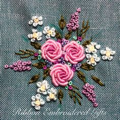 Wonderful Ribbon Embroidery Flowers by Hand Ideas. Enchanting Ribbon Embroidery Flowers by Hand Ideas. Bullion Embroidery, Brazilian Embroidery Stitches, Hand Work Embroidery, Embroidery Flowers Pattern, Creative Embroidery, Simple Embroidery, Rose Embroidery, Learn Embroidery, Silk Ribbon Embroidery