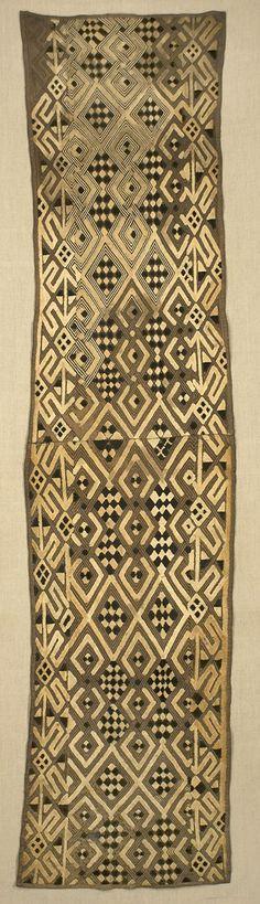 Africa | Boutala waist wrap from the Kuba people of Congo | Raffia cut-pile embroidery