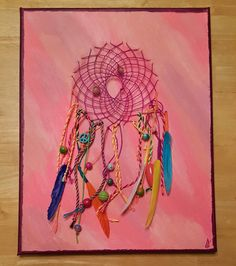 Hot Bright Pink and Purple Dream Catcher sewn into Canvas with Beads and…