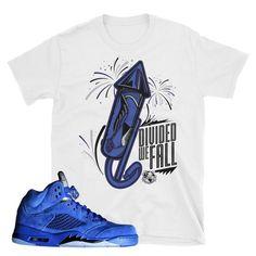 609cc99846563e Air Jordan 5 Blue Suede T-Shirt Matching Jordans