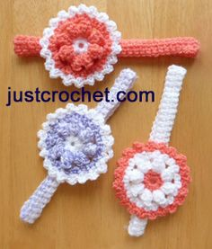 Free baby crochet pattern headband with flower usa ~ love the bottom right one ~ FREE - CROCHET