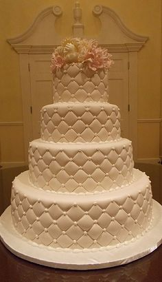 quilted wedding cake. I've always enjoyed making this style. Maybe because it's so different and surprisingly easy!