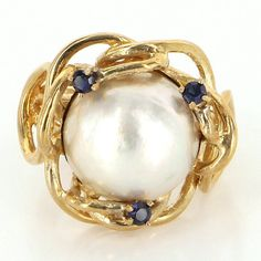 Vintage 14 Karat Yellow Gold Mabe Pearl Sapphire Cocktail Ring Fine Jewelry