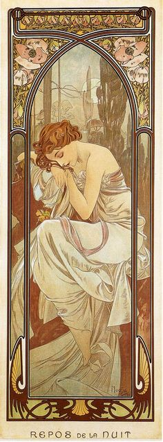 Night`s Rest - Alphonse Mucha