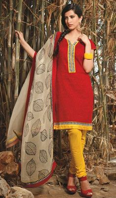 G3 fashions Red Yellow Cotton Party Wear Designer Salwar Suit  Product Code : G3-LSA104987 Price : INR RS 2862