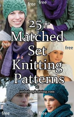 Knitting Patterns for Matched Sets. Most patterns are free