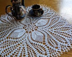 Your place to buy and sell all things handmade Diy Crochet Tablecloth, Crochet Table Runner Pattern, Crochet Doilies, Hand Crochet, Free Crochet, Knitting Patterns, Crochet Patterns, Crochet Borders, Metallic Colors