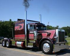 burgundy, chrome, and custom image Show Trucks, Big Rig Trucks, Old Trucks, Peterbilt 359, Peterbilt Trucks, Custom Big Rigs, Custom Trucks, Trucker Quotes, Model Truck Kits