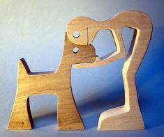 sculpture bois chantourné un homme un chien par 2virgule5d sur Etsy