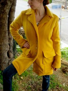 Golden Yellow SingleBreasted Cozy Coat Vegan by MissStitchinWitch