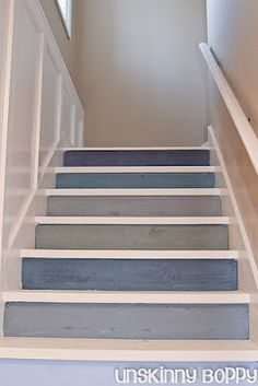 low cost solution to bad carpeting, painted stairs
