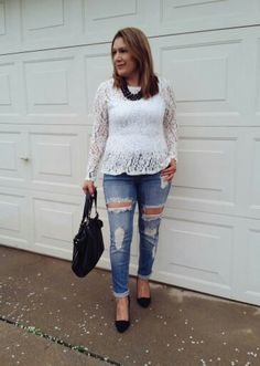 Lauren Conrad lace blouse from @kohls  Distressed Denim  Black Pumps fr @forever21