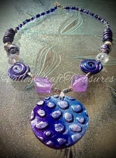 Polymer clay necklace cool shades of by Valleycrafttreasures