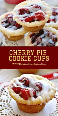 Red Pie Cookie Cups are the perfect result to a red pie craving! These ache ninepenny desserts are preconditioned in 5 proceedings and ar. Cherry Desserts, Cherry Recipes, Köstliche Desserts, Delicious Desserts, Dessert Recipes, Recipes With Cherries, Pie Dessert, Cookie Pie, Brownie Cookie Cups