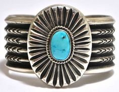 Old Pawn Navajo Sleeping Beauty Turquoise Sterling Silver Cuff Bracelet - Mike Platero - #wadulifashions , #fashion, #clothing